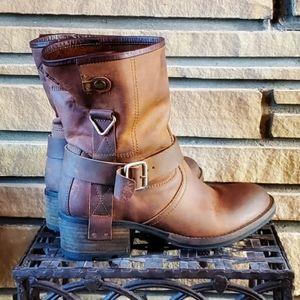 🥀PALLADIUM PLDM Brown Leather Lug Sole Moto Boot